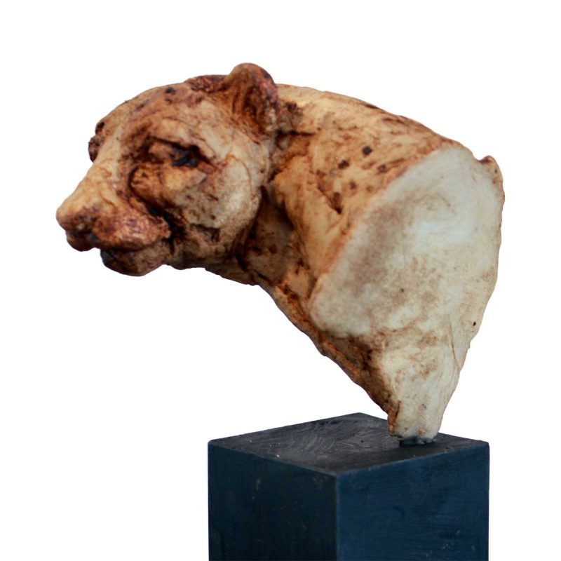 Cheeting Apart - small head of a Cheetah sculpture