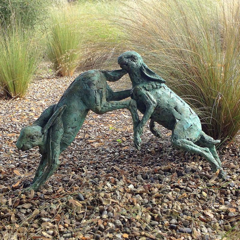 Mad March - life size hares sculpture