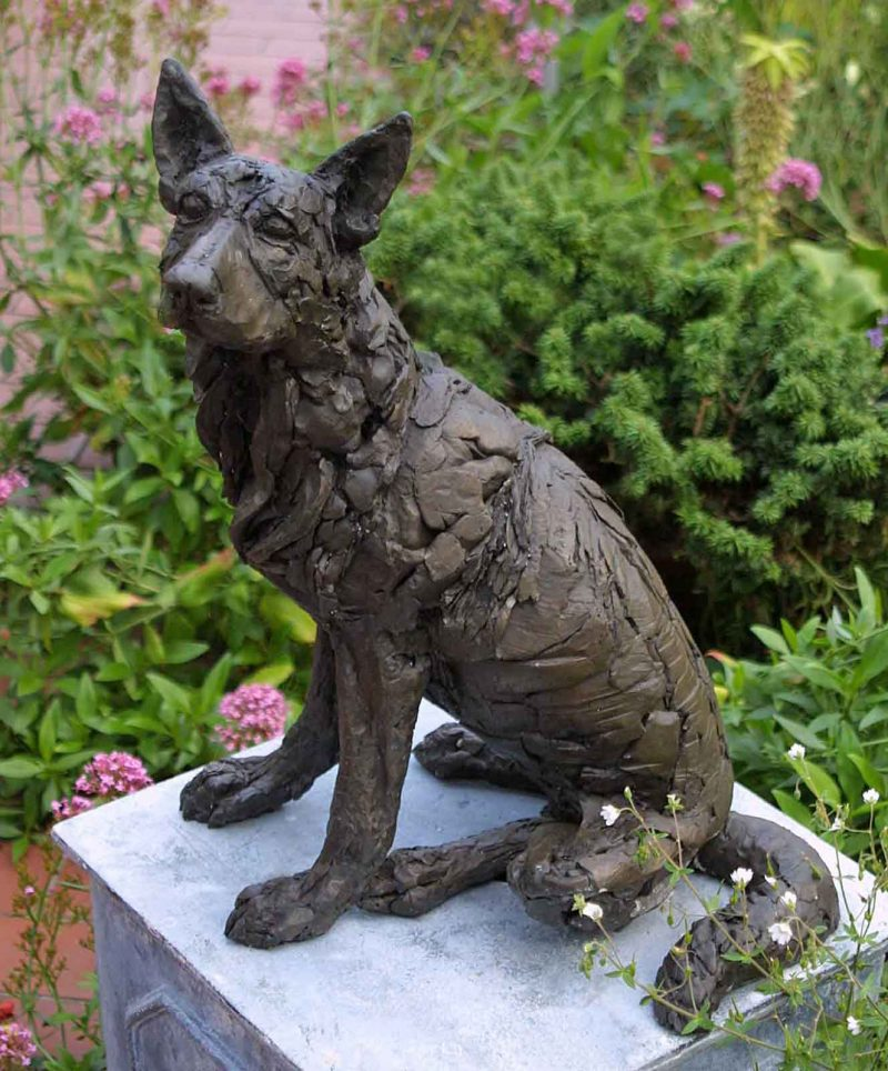 To Sit and Stare - German Shepherd sculpture